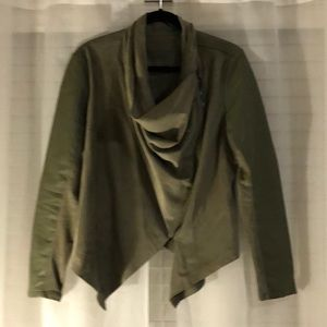 BlankNYC Olive green faux leather and suede blazer